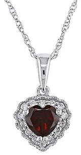 10k White Gold Diamond 12 Ct Garnet Heart Love Pendant Necklace Chain Gh