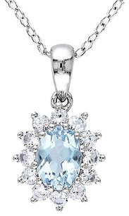 Sterling Silver 1 110 Ct Aquamarine Created White Sapphire Pendant Necklace