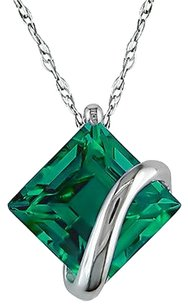 10k White Gold 2.55 Ct Tgw Emerald Fashion Pendant Necklace With Chain