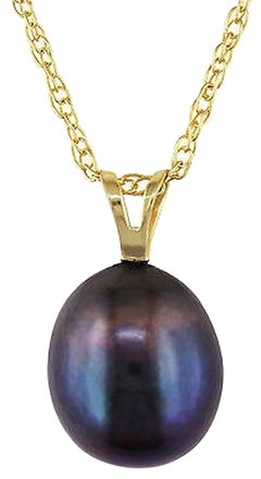Other 10k Yellow Gold Freshwater Black Pearl Pendant Necklace 8-8.5mm 17 Chain