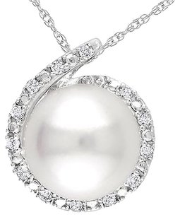 Other 10k White Gold Freshwater Pearl Diamond Accent Pendant Necklace G-h I2-i3 17