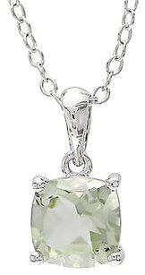 Sterling Silver 0.92 Ct 6 Mm Cushion Green Amethyst Solitaire Pendant With Chain