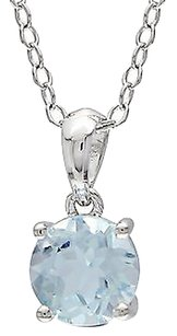 Other Sterling Silver 1 Ct Tw 6 Mm Round Sky Blue Topaz Solitaire Pendant With Chain
