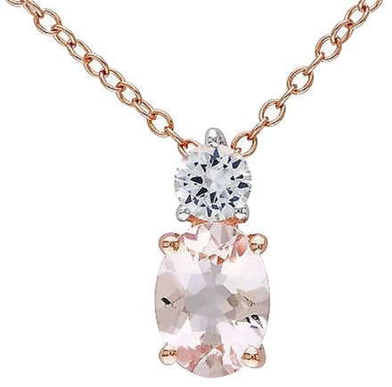 Other Sterling Silver 1.47 Ct Morganite White Sapphire Pendant With Chain Pink Silver