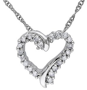 Other 10k White Gold 110 Ct Diamond Tw Heart Love Pendant Necklace Chain Gh I2-i3