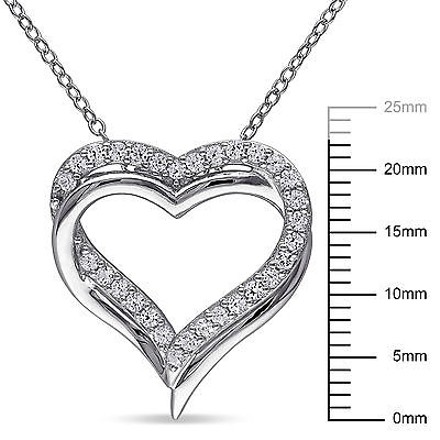 Other Sterling Silver 58 Ct White Sapphire Double Heart Love Pendant Necklace
