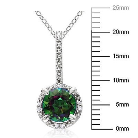 Other Sterling Silver Diamond 1 12 Ct Exotic Green Topaz Pendant Necklace Chain