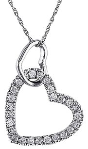 Other 10k White Gold 14 Ct Diamond Tw Heart Love Pendant Necklace Gh I2i3