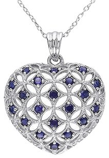 Sterling Silver 1 Ct Created Blue Sapphire Heart Love Pendant Necklace