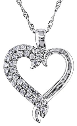 Other 10k White Gold 14 Ct Diamond Tw Love Heart Pendant With Chain Gh I3