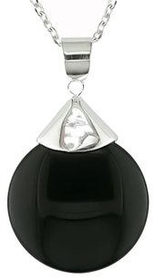Sterling Silver Round Black Onyx Pendant Necklace 18 Chain