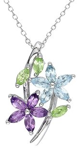 Other Sterling Silver 1 78 Ct Amethyst Sky Blue Topaz Peridot Pendant Necklace