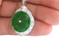 Platinum Jade Diamond Milgrain Circular Pendant Necklace 3.79ct 18