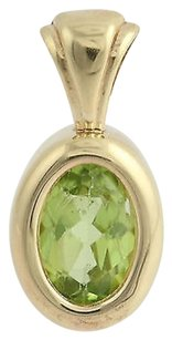 Peridot Solitaire Pendant - 14k Yellow Gold Womens Green Birthstone 0.88ct