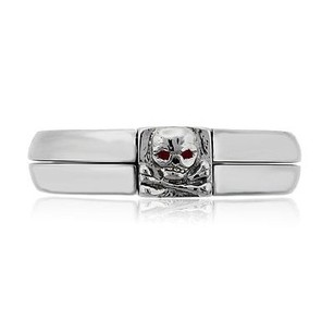 Platinum Ruby Skull Mens Ring