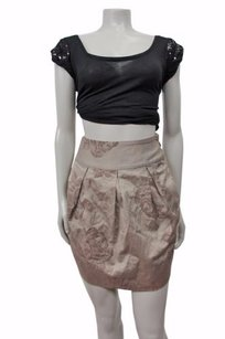 Other Tony Cohen Floral Mini Pleated 2xs Skirt Taupe