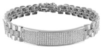 Presidential Style Id Bracelet 925 Sterling Silver Lab Diamonds White Gold Tone