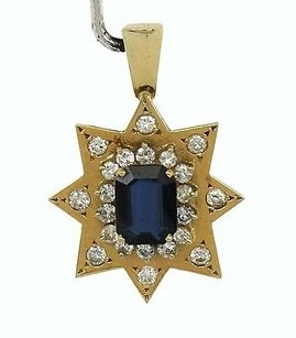 Other Pretty 14kt Yellow Gold 11.12ctw Diamond Sapphire Star Pendant