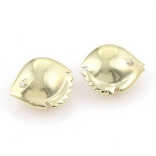 Other Pretty 14kt Yellow Gold Diamond Puffer Fish Stud Earrings