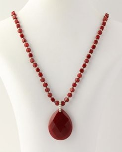 Quartzite Strand Necklace - 925 Sterling Silver Beads Red Womens Fine