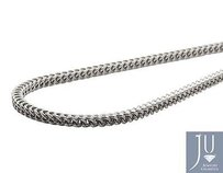 Real 10k White Gold 3mm Hollow Franco Box Link Chain Necklace 18-30 Inches