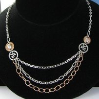 Rebecca Shibuya Necklace Rose Gold Rhodium Plated Pearl Crystals 20.5