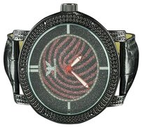Other Red Black Cheetah Print Style Men Exclusive Leather Band Wristwatch Ice Master