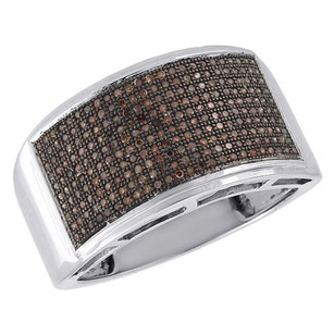 Other Red Diamond Wedding Band 10k White Gold Mens Round Cut Pave Set Ring 0.75 Ct.