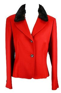 Red Womens Suit Red Wool -