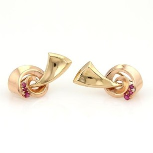 Other Retro Spiral Ribbon Earrings With Rubies In 14k Rose Yellow Gold