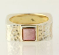 Rhodochrosite Ring - Sterling Silver Square Hammered Band Womens