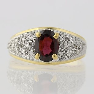 Other Rhodolite Garnet Ring Sterling Silver 2-toned Oval Solitaire Diamond Accents