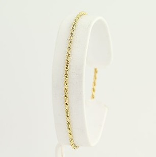 Rope Chain Bracelet 34 - 14k Yellow Gold Lobster Claw Clasp