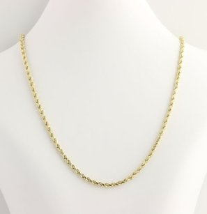 Rope Chain Necklace - 10k Yellow Gold Lobster Claw Clasp Lightweight 28