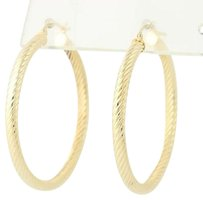 Other Rope Twist Hoop Earrings - 14k Yellow Gold Cable Pattern Pierced 36.8mm