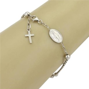 Rosary Beads Charm Bracelet Mary Cross 18k White Gold Bracelet