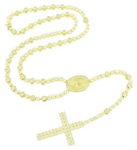 Other Rosary Necklace Cross Pendant Jesus Round Cut 14k Gold Finish Simulated Diamonds