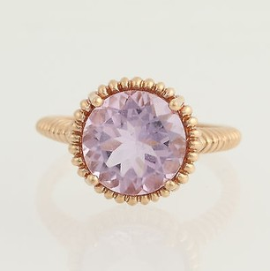Other Rose De France Amethyst Ring - 10k Rose Gold Textured Solitaire 3.30ct