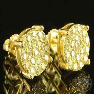 Other Round Cluster Style Yellow Lab Diamond Unisex Gold Finish Custom Earring Studs