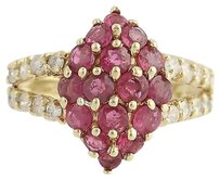 Ruby Diamond Cluster Cocktail Ring - 10k Yellow Gold July 1.62ctw