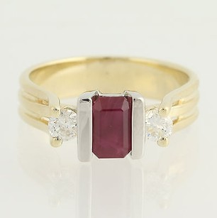 Ruby Diamond Ring - 14k Yellow White Gold July Birthstone 1.34ctw