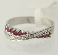 Ruby Overpass Ring - 925 Sterling Silver Diamond Accents Womens 7.25