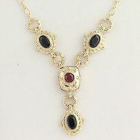 Ruby Sapphire Necklace 34 - 14k Yellow Gold July September 1.39ctw