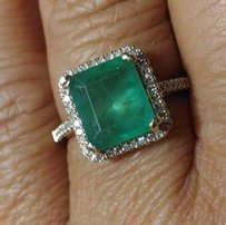 SALE*2.70ct NATURAL UNTREATED EMERALD&DIAMOND 10K GOLD RING