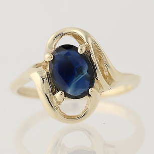 Sapphire Bypass Ring - 10k Yellow Gold Solitaire September Gift Genuine 1.50ctw