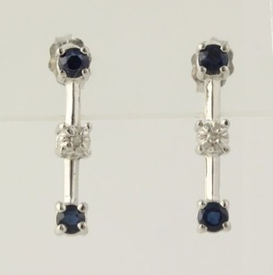 Sapphire Diamond Journey Earrings- 14k 10k White Gold Pierced Genuine .18ctw