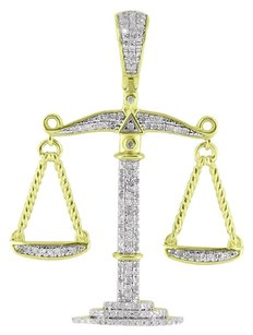 Other Scale Of Justice Pendant 10k Yellow Gold Genuine Diamonds Micro Pave Mens Ladies