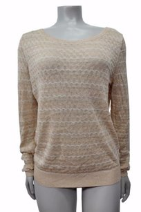 Other Sparrow Anthropologie Waves Beige White Gold Sparkle Sweater