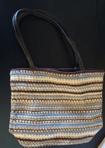 Other Beige Blue And White Knit Hand 13 X 11 X Shoulder Bag