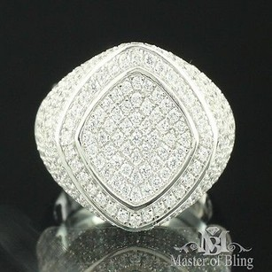 Sterling Silver Pinky Ring Round Kite White Gold Plated Cubic Zircon Iced Out 3d